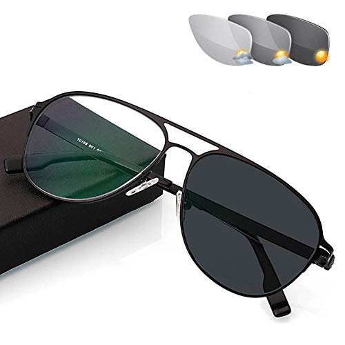 Reading Glasses with Transition Photochromic, aspheric hard resin bifocal lens Outdoor Readers Aviator Sunglasses for UV400 /Anti Glare/ in Reading Magnification 1.00 to 3.00 strength,Black,+2.5