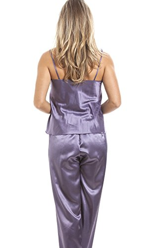 Camille - Mujeres Púrpura Púrpura Integral Satén pijama Set MORADO