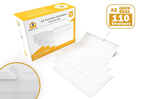 A2 Invitation 4 ⅜ x 5 ¾ Envelopes - for Wedding Invites, RSVP, Greeting Cards, Photo Storage Mailing, Quarter Folded A4 Paper, 5.5 x 4 Inserts - W/Peel, Press & ()
