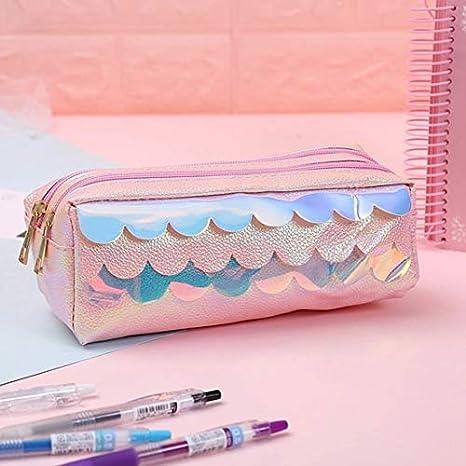 MLDBD Caja de lápices de Gran Capacidad para niñas Bolsa con Cremallera Doble Caja de lápices Bolsa Material Escolar Papelería Escalas de Color Rosa: Amazon.es: Deportes y aire libre