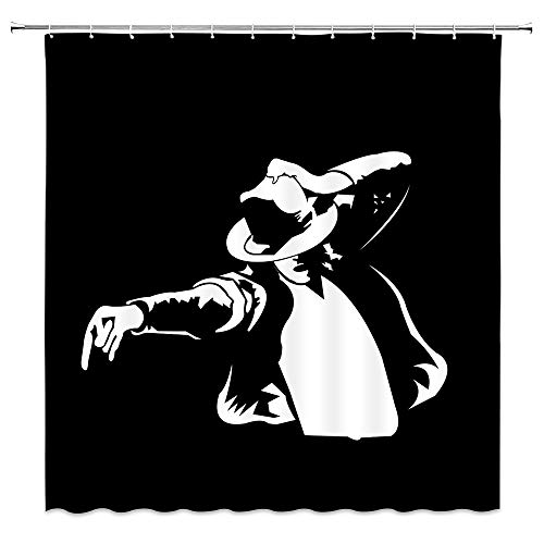 Mike Jackson Theme Shower Curtain Black And White Cartoon character Celebrity Soul Dance God Pop Song King Creative Personality 70 X 70 In Polyester Fabric Waterproof Bathroom Accessories