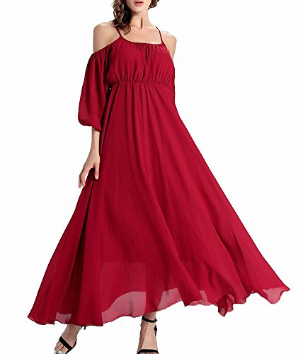Afibi Women's Off-Shoulder Long Chiffon Casual Dress Striped Maxi Dress (Large, Red 2)