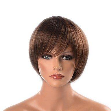 Peluca sintética WIGSSALE Yaki recta con capas de pelo natural peluca marrón sin tapa peluca natural