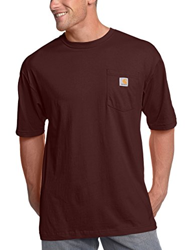 (Carhartt Men's K87 Workwear Pocket Short Sleeve T-Shirt (Regular and Big & Tall Sizes), Port, X-Large/Tall)