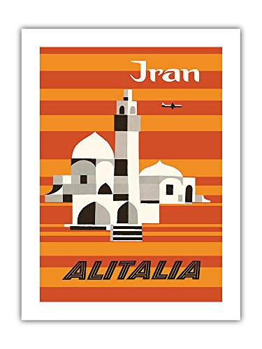 Pacifica Island Art Iran - Alitalia Airlines - Middle-East - Vintage Airline Travel Poster by Ennio Molinari c.1960s - Premium 290gsm Giclée Art Print 18in x 24in