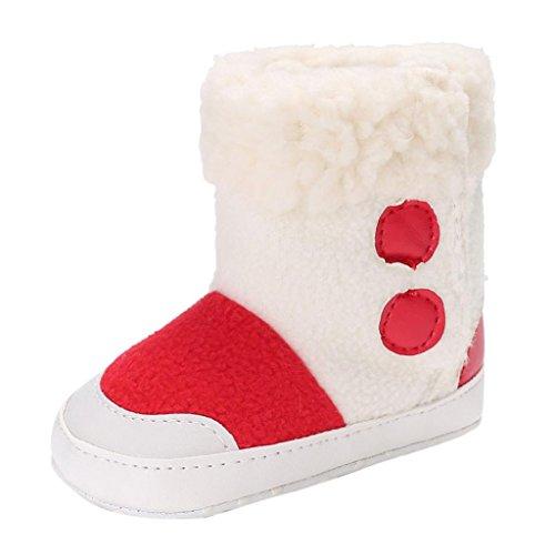 Clode® Baby Jungen weiche alleinige Beuten Schnee Aufladungen Säuglings Kleinkind Neugeborene erwärmte Schuhe Rot