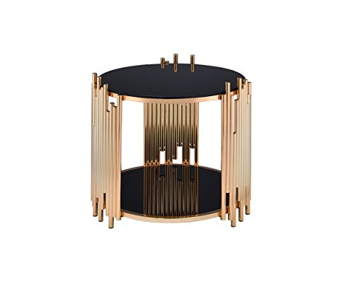 Acme Furniture 84492 Tanquin End Table, Black Glass/Gold