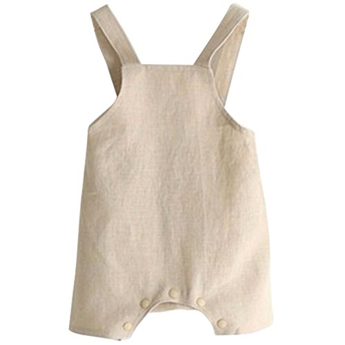 Younger Tree Infant Toddle Baby Boys Girls Cotton Linen Jumpsuit One Piece Blue/Beige Overall Outfit Clothes (Beige, 6-15 - Boy Baby Shortalls