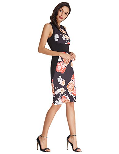 Pencil BP431 Floral Vintage Black Dress Sleeveless New Poque Belle 1950s Neck V 2018 p0Pw5Sq