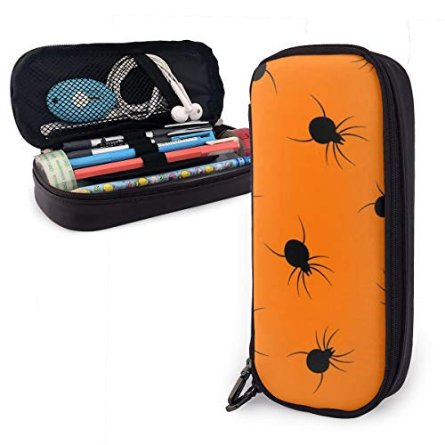KODFIVDW Halloween Spider Cute Pen Pencil Case Leather 8 X 3.5 X 1.5 Inch Big Capacity Double Zippers Pencil Pouch Bag Pen Holder Box for School Office Girls Boys Adults -