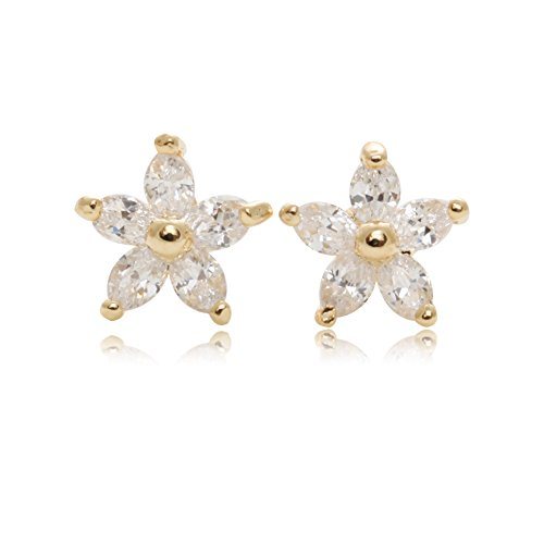 Boat Flowers (Cute Small Flower Pave Setting Boat Shape Cubic Zirconia Gold Plated Stud)