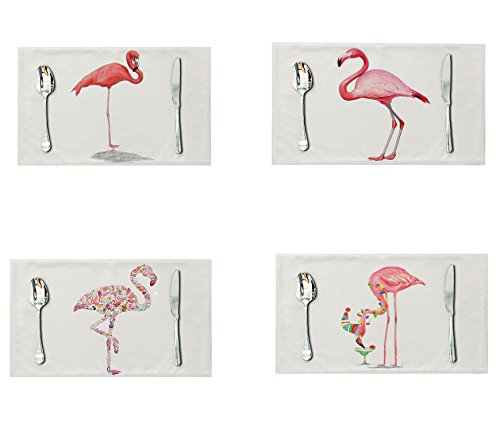 LOLOAJOY Place Mats Set of 4,Cotton Linen Placemats,Flamingo Pattern Dining Table Mats Cotton Linen Placemats for Home Kitchen
