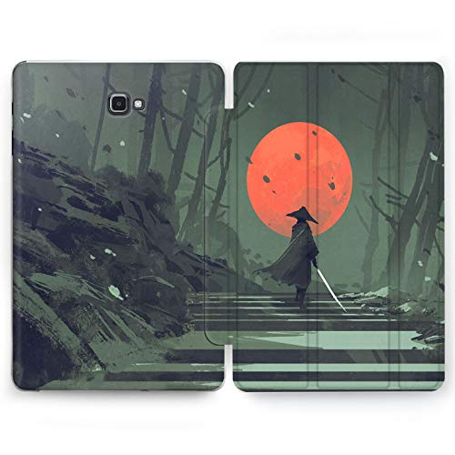 Wonder Wild Japan Warrior Samsung Galaxy Tab S4 S2 S3 A E Smart Stand Case 2015 2016 2017 2018 Tablet Cover 8 9.6 9.7 10 10.1 10.5 Inch Clear Design Fores Hill Stairs Man Sword Kasa Full Moon Snowing