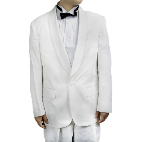 (New Mens Classic One Button White Tuxedo Dinner Jacket with Shawl)