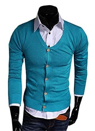 BoBoLily Color Sólido Jersey De Punto para Hombre Largo Cuello En ...