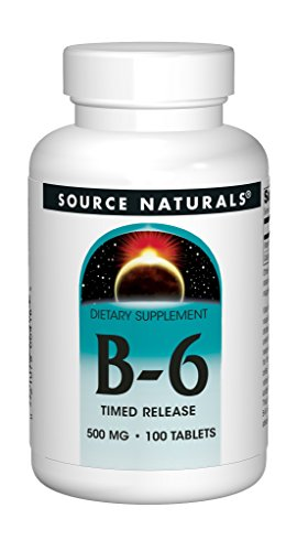 Tabs Natural 500 100% (Source Naturals Vitamin B-6 Pyridoxine 500mg Time Release, 100 Tablets (Pack of 2))