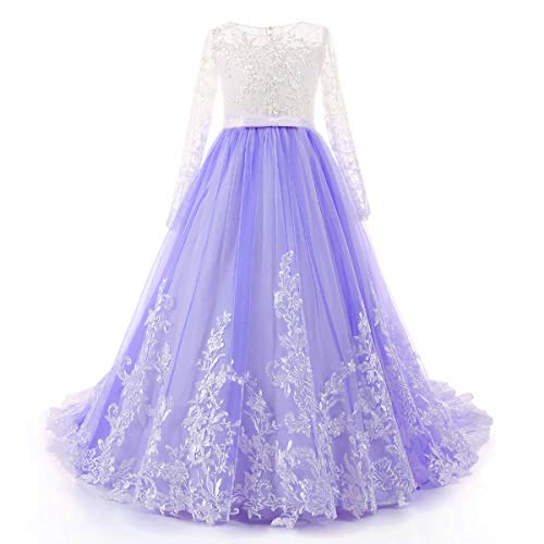 Lisa Ball Gown Flower Girl Dress Long Sleeve Lace Pageant Dresses Purple Size 5