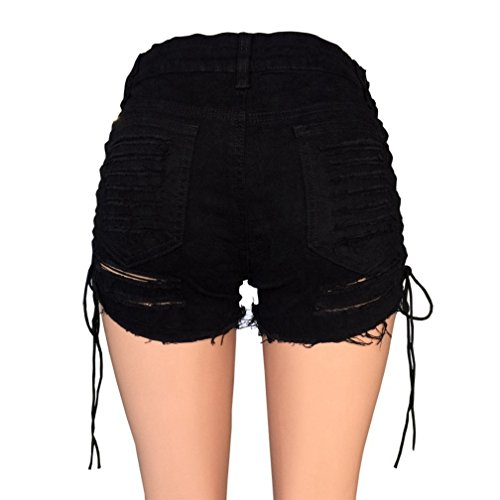 Lealac Women's Summer Cotton Denim Cut Off Shorts Sexy Destroyed Ripped Hole Short Jeans Mini Hot Pants Club wear Gift For Women Bangdai Black L by LeaLac (Image #5)