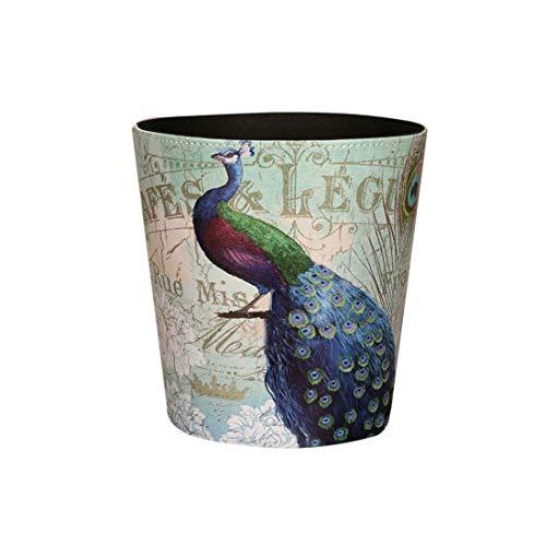 Peacock Basket - Yamix 10L Retro Style Kitchen Trash Can Bedroom Trash Bin Wastebasket for Bathroom Office Living Room (Peacock)