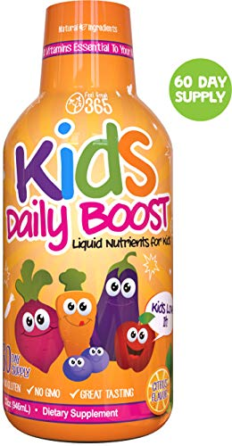 Children's Liquid Multivitamin by Feel Great 365 (60 Day Supply) | Daily Value of 14 Vitamins | Natural Kids Supplement ● Non-GMO, Sugar-Free, Gluten Free, Methyl B-12 Vitamin D3, Great Fruity Taste