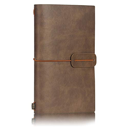 - LEATHER Travel Journal Notebook Lined, Vintage Retro Soft Cover Journal, Refillable Notepad/Diary Card Holder for Men/Women, Best Gift for Art Sketchbook - 7.8