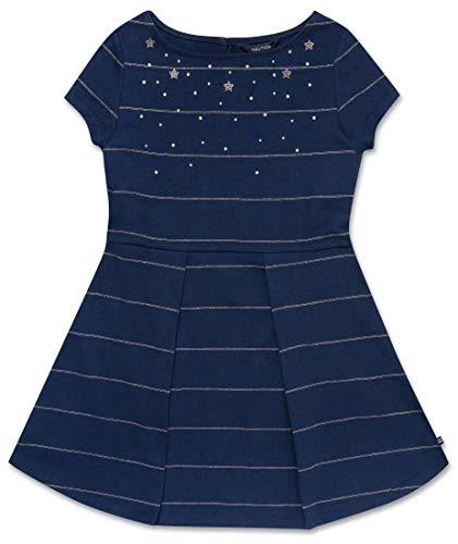 Nautica Girls' Little Holiday Party Short Sleeve Dress, Metallic Dark Blue,