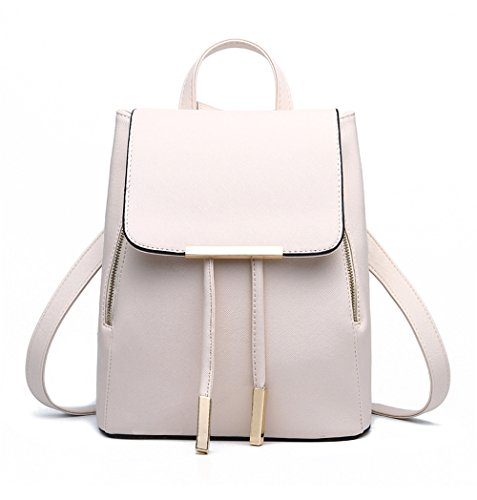 Fezhiomu Pu Leather Backpack for Girls School bag Mini Shoulder Bag Casual Daypack White