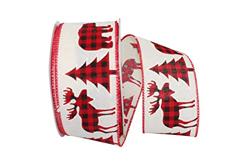 Reliant Ribbon 93172W-810-40F Holiday Cut Outs Buffalo Plaid Wired EDG Ribbon, 2-1/2 Inch X 10 Yards, Ivory (Ribbon Cut Outs)