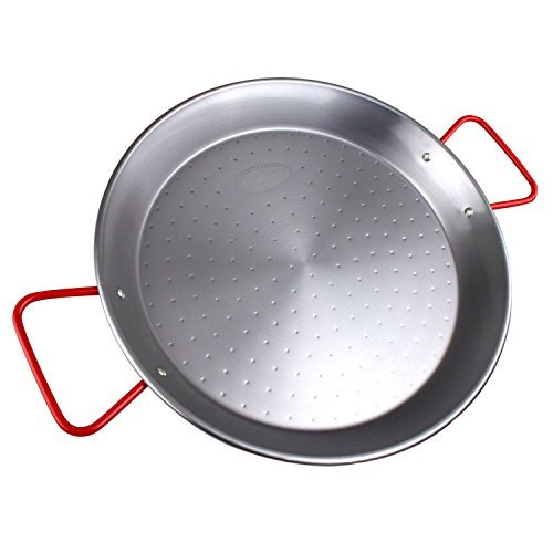 The Hungry Cuban paella pan 15 inches or 38 centimeter carbon steel, red handle, made in Spain, best size for home cook.