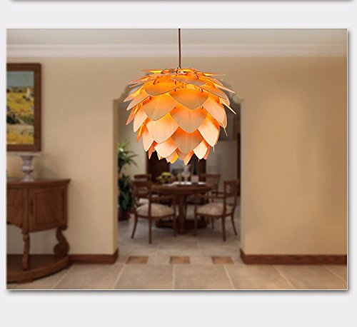 250 Mm Lx.AZ.Kx Massivholz modernes Schlafzimmer Pine Cone Pendelleuchte, 250mm