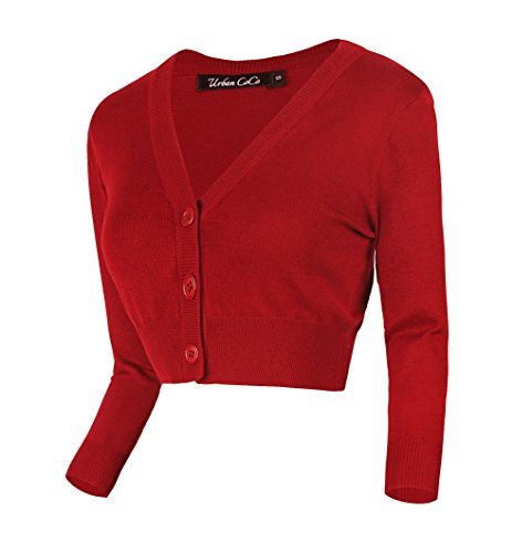 Urban CoCo Women's Cropped Cardigan V-Neck Button Down Knitted Sweater 3/4 Sleeve (M, Red)