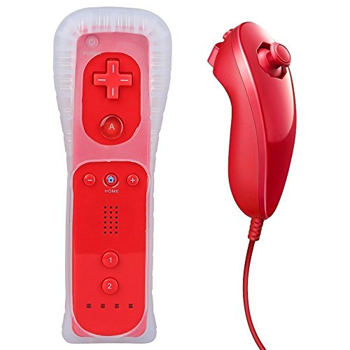 Wii Remote Controller,Lyyes Wii Remote and Nunchuck Game Controller with Silicon Case for Wii and Wii U(Without Motion Plus) -