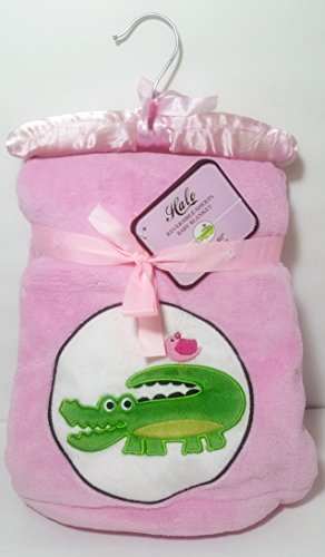 Halo Plush Reversible Pink Sherpa Baby Girls Blanket - Embroidered Green Crocodile / Alligator Graphic, 30 in x 40 in Gift Ready!