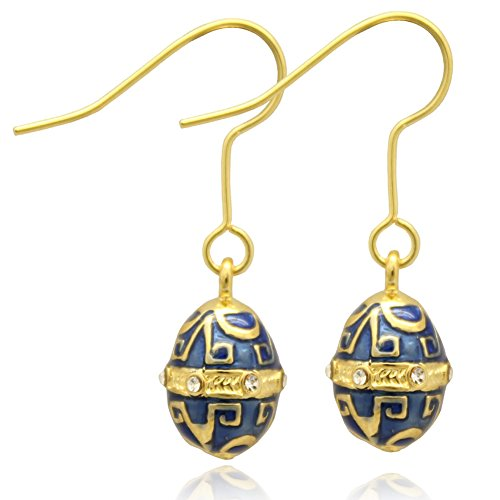MYD Jewelry Multicolor Enameled Faberge Egg Easter Drop Earrings for Ladies (Gold Blue Earrings)