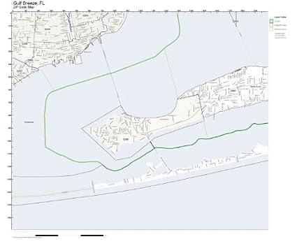 Map Gulf Breeze Florida.Amazon Com Zip Code Wall Map Of Gulf Breeze Fl Zip Code Map