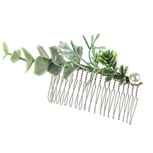 Leaf Comb - DreamLily Greenery Comb Leaf Comb Bridal Hair Comb Greenery Headpiece Wedding Accessories XM06 (Green Pearl Leaf)