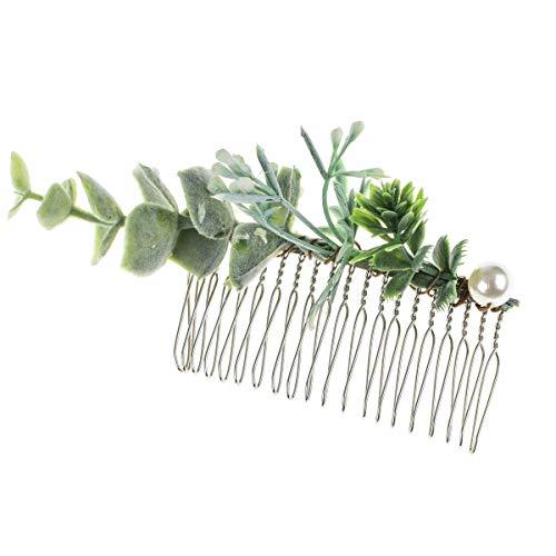Leaf Comb - DreamLily Greenery Comb Leaf Comb Bridal Hair Comb Greenery Headpiece Wedding Accessories XM06 (Green Pearl Leaf)