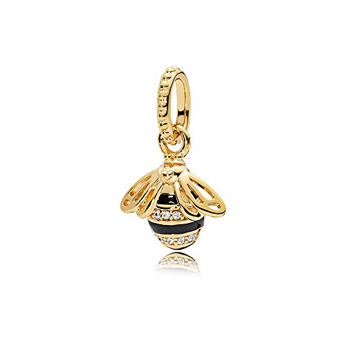 Queen Bee Pendant, PANDORA Shine, Black Enamel & Clear CZ - Enamel Bee Charm