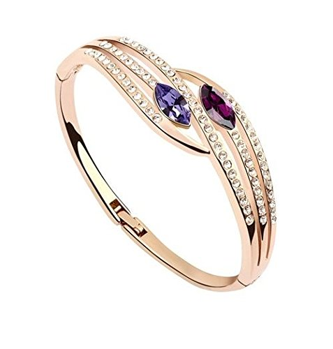 Crystals from Swarovski Purple Simulated Amethyst Bangle Bracelet 18 ct Rose Gold Plated for Women 6.9 Crystalline CA-AZ-CR-0007