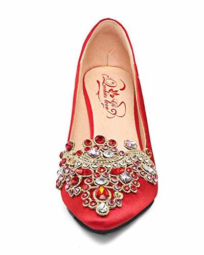 Nuziale Confortevole Donne Red Satin Silk Strass Nozze 5 Appuntito Rosso 5CM Pompe Scarpe Scarpe TdzdSq