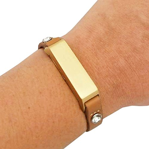 Fitbit Bracelet for Fitbit Flex 2 Fitness Trackers - The KATE Single-Strap Studded Leather Fitbit Bracelet - Alternative to Tory Burch Fitbit (Tan & Gold Crystal, - Tory Burch Similar To
