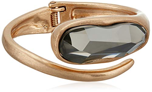 Robert Lee Morris Soho Large Stone Sculptural Bypass Hinged Bangle Bracelet, Black Diamond