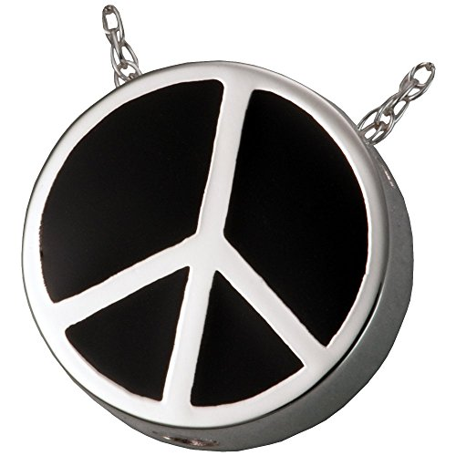 Memorial Gallery MG-3115s Peace Sign Sterling Silver Cremation Pet Jewelry by Memorial Gallery
