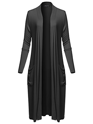 Made by Emma Long Sleeve Side Pockets Midi Length Open Front Cardigan Black L by Made by Emma (Image #6)