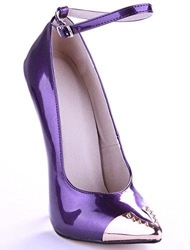 VIVIOO Tacón Alto Elegent Spike Mujeres Punta Estrecha BombasPrimavera Otoño Correa De Tobillo Zapatos De Charol De Metal Talones Vestido De Fiesta De Boda Zapatos 16cm purple