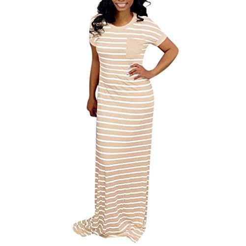 LUNIWEI Long Dress for Women Summer O-Neck Striped Printed Short Sleeve Maxi Dresses with Pocket Khaki