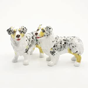 Australian Shepherd Dog Ceramic Figurine Salt Pepper Shaker 00020 Ceramic Handmade Dog Lover Gift Collectible Home Decor Art and Crafts