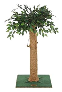 Kitty Palm Cat Tree with Ficus Foliage Top, Green Carpet, Manila Rope, 36 Inches