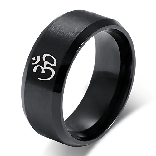 XUANPAI Men's Women's Yoga Ring Stainless Steel Buddhist Om Symbol Inspiration Meditation Jewelry,Size ()