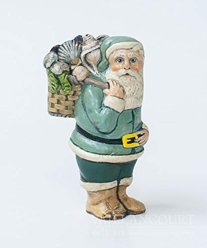 Vaillancourt Folk Art Nantucket Shell Seeker Santa